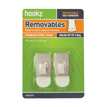 Removable Square Small Utility Hooks (2 pack)