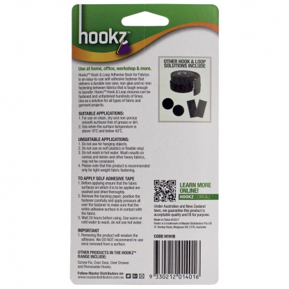 Hookz Hook & Loop Fabric Tape 1m Roll