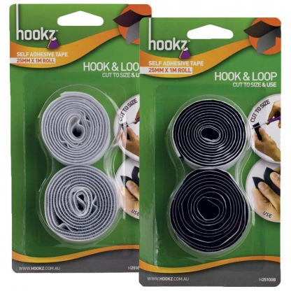 Hook & Loop Tape 1m Roll in white and black