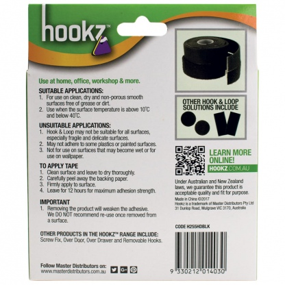 Hookz Hook & Loop Heavy Duty Tape 5m Roll
