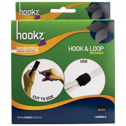 Hookz Hook & Loop Reusable Wrap Tape 8m Roll