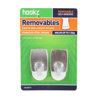 Removable Square Medium Utility Hooks (2 pack)