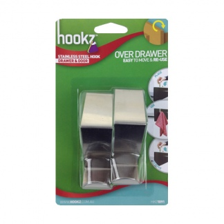 Hookz Over Drawer Stainless Steel Hook Twin Pack