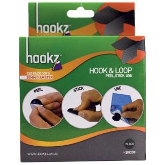 Hookz Hook & Loop Dots 25mm Black 120pk