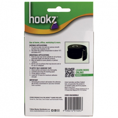 Hookz Hook & Loop Heavy Duty Tape 3m Roll